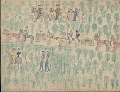 view Making Medicine drawing of wagons holding Indian prisoners traveling under Army guard through wooded area digital asset: Making Medicine drawing of wagons holding Indian prisoners traveling under Army guard through wooded area