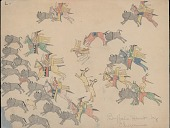 view Making Medicine drawing of mounted hunters pursuing buffalo and pronghorn antelope digital asset: Making Medicine drawing of mounted hunters pursuing buffalo and pronghorn antelope