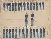 view Making Medicine drawing of two White soldiers with sabers inspecting two rows of Indian prisoners in uniform inside building digital asset: Making Medicine drawing of two White soldiers with sabers inspecting two rows of Indian prisoners in uniform inside building