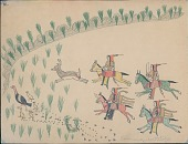 view Making Medicine drawing of mounted hunters pursuing a deer, having flushed a turkey and chicks from cover digital asset: Making Medicine drawing of mounted hunters pursuing a deer, having flushed a turkey and chicks from cover