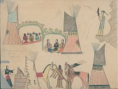 view Making Medicine drawing of scene of people in camp with painted tipis and brush arbors digital asset: Making Medicine drawing of scene of people in camp with painted tipis and brush arbors