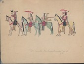 view Making Medicine drawing of row of elegantly dressed men on horseback with umbrellas, hair plates, and mountain lion quiver or bowcase digital asset: Making Medicine drawing of row of elegantly dressed men on horseback with umbrellas, hair plates, and mountain lion quiver or bowcase