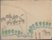 view Making Medicine drawing of hunters preparing muzzle loaders, with herd of buffalo on opposite side of river with yellow-headed black birds and deer digital asset: Making Medicine drawing of hunters preparing muzzle loaders, with herd of buffalo on opposite side of river with yellow-headed black birds and deer