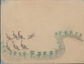 view Making Medicine drawing of hunters firing at flock of turkeys from cover of wooded ridge digital asset: Making Medicine drawing of hunters firing at flock of turkeys from cover of wooded ridge