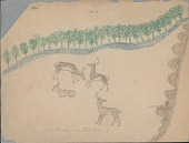 view Making Medicine drawing of hunter firing at herd of deer from cover of wooded ridge digital asset: Making Medicine drawing of hunter firing at herd of deer from cover of wooded ridge