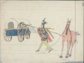 view Kiowa drawing, possibly by Koba or Etadleuh, of battle scene, with warrior wearing face and body paint and holding a lance and a shield approaching a person, possibly Mexican, inside a wagon digital asset: Kiowa drawing, possibly by Koba or Etadleuh, of battle scene, with warrior wearing face and body paint and holding a lance and a shield approaching a person, possibly Mexican, inside a wagon