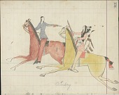 view Kiowa drawing, possibly by Koba or Etadleuh, of mounted warrior carrying a shield and a firearm pursuing a mounted non-native carrying a pistol digital asset: Kiowa drawing, possibly by Koba or Etadleuh, of mounted warrior carrying a shield and a firearm pursuing a mounted non-native carrying a pistol