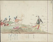 view Kiowa drawing, possibly by Koba or Etadleuh, of Navaho warriors pursuing Kiowa warrior digital asset: Kiowa drawing, possibly by Koba or Etadleuh, of Navaho warriors pursuing Kiowa warrior