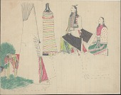 view Kiowa drawing, possibly by Koba or Etadleuh, of courting scene with one man and two women digital asset: Kiowa drawing, possibly by Koba or Etadleuh, of courting scene with one man and two women