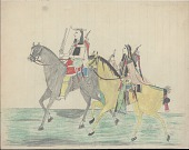 view Kiowa drawing, possibly by Koba or Etadleuh, of two mounted men with shields carrying firearms digital asset: Kiowa drawing, possibly by Koba or Etadleuh, of two mounted men with shields carrying firearms