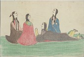 view Kiowa drawing, possibly by Koba or Etahdleuh, of courting scene with two couples digital asset: Kiowa drawing, possibly by Koba or Etahdleuh, of courting scene with two couples