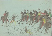 view Kiowa drawing, possibly by Koba or Etahdleuh, of two dismounted men with shields and bows fighting eight mounted Mexican soldiers digital asset: Kiowa drawing, possibly by Koba or Etahdleuh, of two dismounted men with shields and bows fighting eight mounted Mexican soldiers