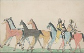 view Kiowa drawing, possibly by Koba or Etahdleuh, of two mounted men with shields herding four horses digital asset: Kiowa drawing, possibly by Koba or Etahdleuh, of two mounted men with shields herding four horses