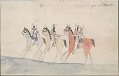 view Kiowa drawing, possibly by Koba or Etahdleuh, of three mounted men with shields digital asset: Kiowa drawing, possibly by Koba or Etahdleuh, of three mounted men with shields