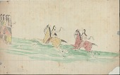view Kiowa drawing, possibly by Koba or Etahdleuh, of a horse race, with two mounted men with quirts and four spectators digital asset: Kiowa drawing, possibly by Koba or Etahdleuh, of a horse race, with two mounted men with quirts and four spectators