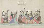 view Kiowa drawing, possibly by Koba or Etahdleuh, of courting scene, with five couples wrapped in blankets digital asset: Kiowa drawing, possibly by Koba or Etahdleuh, of courting scene, with five couples wrapped in blankets