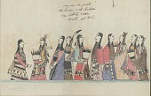 view Kiowa drawing, possibly by Koba or Etahdleuh, of courting scene, with five couples digital asset: Kiowa drawing, possibly by Koba or Etahdleuh, of courting scene, with five couples