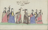 view Kiowa drawing, possibly by Koba or Etahdleuh, of courting scene, with four couples digital asset: Kiowa drawing, possibly by Koba or Etahdleuh, of courting scene, with four couples