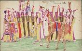 view Kiowa drawing, possibly by Koba or Etahdleuh, of a group of men digital asset: Kiowa drawing, possibly by Koba or Etahdleuh, of a group of men