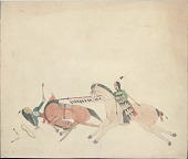 view Tichkematse drawing of man on horse with shield lancing another man falling off his horse digital asset: Tichkematse drawing of man on horse with shield lancing another man falling off his horse