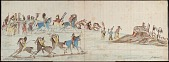 view Kiowa drawing, possibly by Koba, of a meeting between a group of Kiowa and Comanche and a group of Pawnee digital asset: Kiowa drawing, possibly by Koba, of a meeting between a group of Kiowa and Comanche and a group of Pawnee