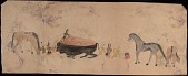 view Tichkematse drawing of three men flaying killed buffalo, with three horses tied nearby digital asset: Tichkematse drawing of three men flaying killed buffalo, with three horses tied nearby
