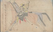 view Anonymous Lakota drawing of man and woman riding horses digital asset: Anonymous Lakota drawing of man and woman riding horses