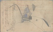 view Anonymous Lakota drawing of woman with parasol riding branded horse digital asset: Anonymous Lakota drawing of woman with parasol riding branded horse