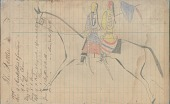 view Anonymous Lakota drawing of two women riding together on a horse digital asset: Anonymous Lakota drawing of two women riding together on a horse