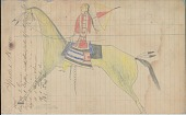 view Anonymous Lakota drawing of woman with parasol riding a horse digital asset: Anonymous Lakota drawing of woman with parasol riding a horse