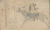 view Anonymous Lakota drawing of two men riding together on same horse digital asset: Anonymous Lakota drawing of two men riding together on same horse