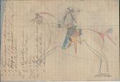 view Anonymous Lakota drawing of man riding horse with mountain lion saddle blanket digital asset: Anonymous Lakota drawing of man riding horse with mountain lion saddle blanket