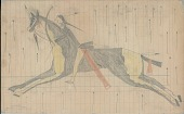 view Anonymous Lakota drawing of battle scene showing warrior with saber riding painted horse through a hail of bullets digital asset: Anonymous Lakota drawing of battle scene showing warrior with saber riding painted horse through a hail of bullets