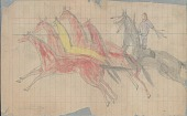 view Anonymous Lakota drawing of horse raiding scene with man wearing blue hooded capote digital asset: Anonymous Lakota drawing of horse raiding scene with man wearing blue hooded capote
