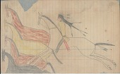 view Anonymous Lakota drawing of horse raiding scene digital asset: Anonymous Lakota drawing of horse raiding scene