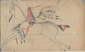view Anonymous Lakota drawing of warrior on horseback with double curved bow, whistle in mouth, and hoop in hair digital asset: Anonymous Lakota drawing of warrior on horseback with double curved bow, whistle in mouth, and hoop in hair
