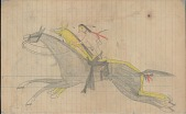 view Anonymous Lakota drawing of a warrior catching bridle of horse with Western saddle digital asset: Anonymous Lakota drawing of a warrior catching bridle of horse with Western saddle