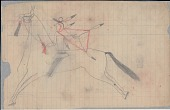 view Anonymous Lakota drawing of a warrior shown on horseback with hoop in hair and wearing painted cape digital asset: Anonymous Lakota drawing of a warrior shown on horseback with hoop in hair and wearing painted cape