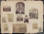 view Portrait of Chief Kiyo-Kag (One Who Moves About Alert), Called Keokuk, in Native Dress, with Roach, Bear Claw Necklace, James Monroe Peace Medal, Other Ornaments, and Cane digital asset: James E. Taylor scrapbook, page 33