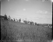 view People and horses on hillside digital asset: People and horses on hillside