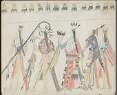 view Anonymous Kiowa drawing of five men wearing assorted headgear and carrying a crooked lance, a society whip, a saber, and a tomahawk digital asset: Anonymous Kiowa drawing of five men wearing assorted headgear and carrying a crooked lance, a society whip, a saber, and a tomahawk