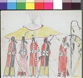 view Anonymous Kiowa drawing of five men wrapped in blankets standing in front of a painted tipi; one man with crooked lance digital asset: Anonymous Kiowa drawing of five men wrapped in blankets standing in front of a painted tipi; one man with crooked lance