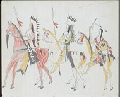 view Anonymous Kiowa drawing of three men riding horses, carrying shields and lances digital asset: Anonymous Kiowa drawing of three men riding horses, carrying shields and lances