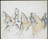 view Anonymous Kiowa drawing of three mounted men wearing face and body paint and carrying shields digital asset: Anonymous Kiowa drawing of three mounted men wearing face and body paint and carrying shields