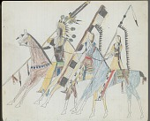 view Anonymous Kiowa drawing of three mounted men wearing headdresses and carrying lances digital asset: Anonymous Kiowa drawing of three mounted men wearing headdresses and carrying lances