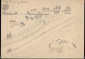 view Peter Running Horse drawing of four horses near a creek digital asset: Peter Running Horse drawing of four horses near a creek