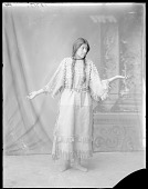 view Portrait of Minnie Burton, 18 years. Ft. Lemhi, Idaho, full length front view. St Louis Indian School 1904 digital asset number 1