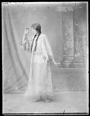 view Portrait of Minnie Burton, 18 years. Ft. Lemhi, Idaho, full length side view. U. S. Indian School, St Louis, Missouri 1904 digital asset number 1