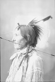 view Portrait (Profile) of Standing Elk ? Old Man, in Native Dress and Wearing Roach 1898 digital asset number 1