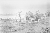 view Two Men Near Sweat House; Canoe and Lake Nearby 1900 digital asset number 1